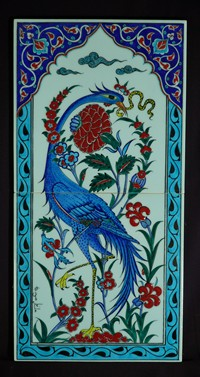 Two-tile panel with bird and floral pattern