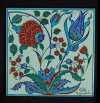 One-piece tile with floral pattern