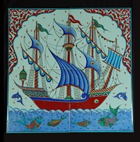 Four-tile panel with galleon pattern
