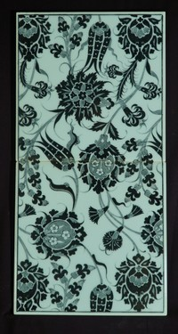 Two-tile panel with black&White floral pattern