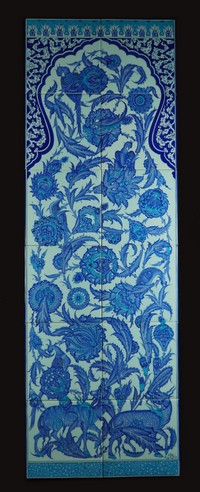 Twelve-tile panel with floral pattern