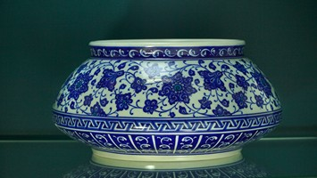 Bowl with blue & white floral pattern