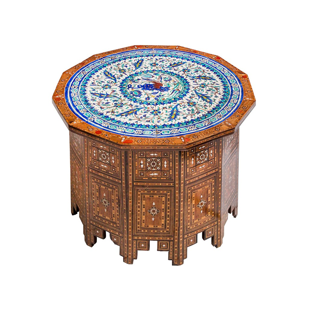 An old polygonal mother of pearl inlaid table  ;50;73;;; - FLORAL