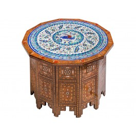 FLORAL An old polygonal mother of pearl inlaid table  ;50;73;;;