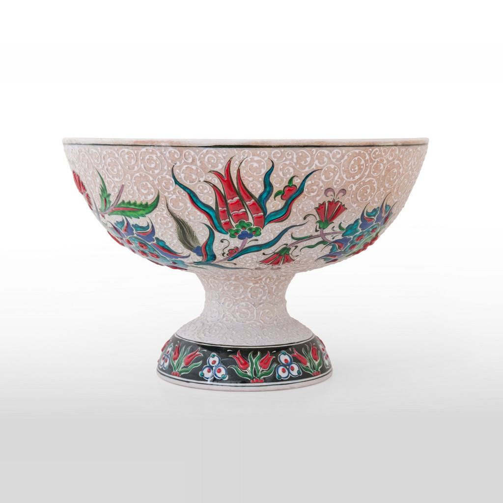 Basin on high foot leaves and flowers ;25;39 - BOWL