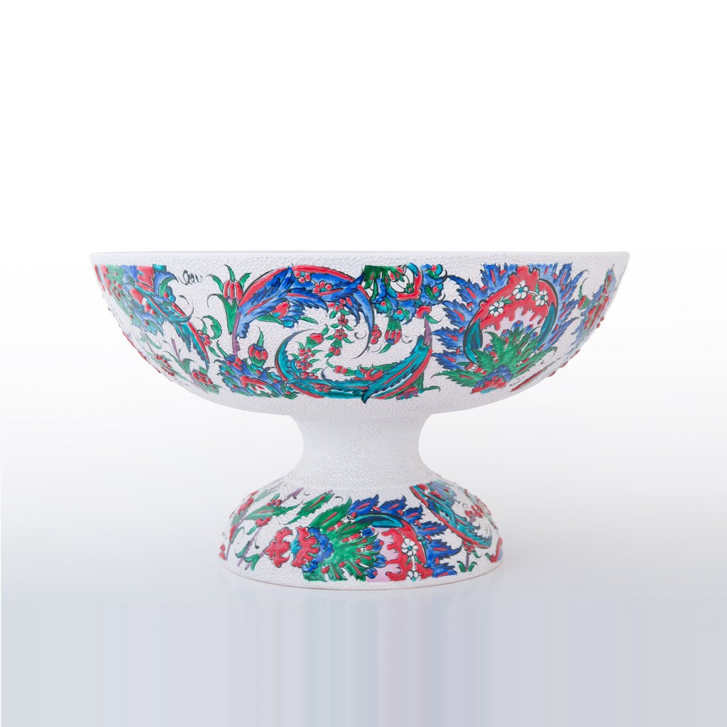 Basin on high foot saz leaves and floral pattern ;22;38 - ARTIST Saim Kolhan