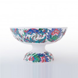 FLORAL Basin on high foot saz leaves and floral pattern ;22;38