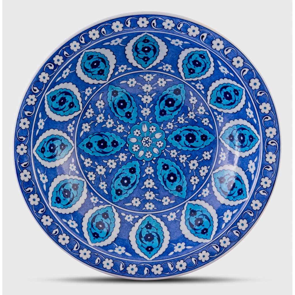 Blue and white deep plate with Rumi pattern ;;40;;; - FLORAL