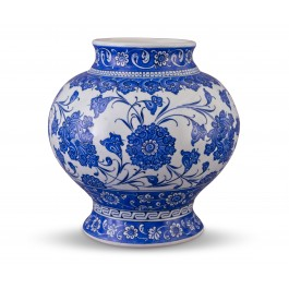BLUE & WHITE Blue and white jar with floral pattern ;25;20;;;