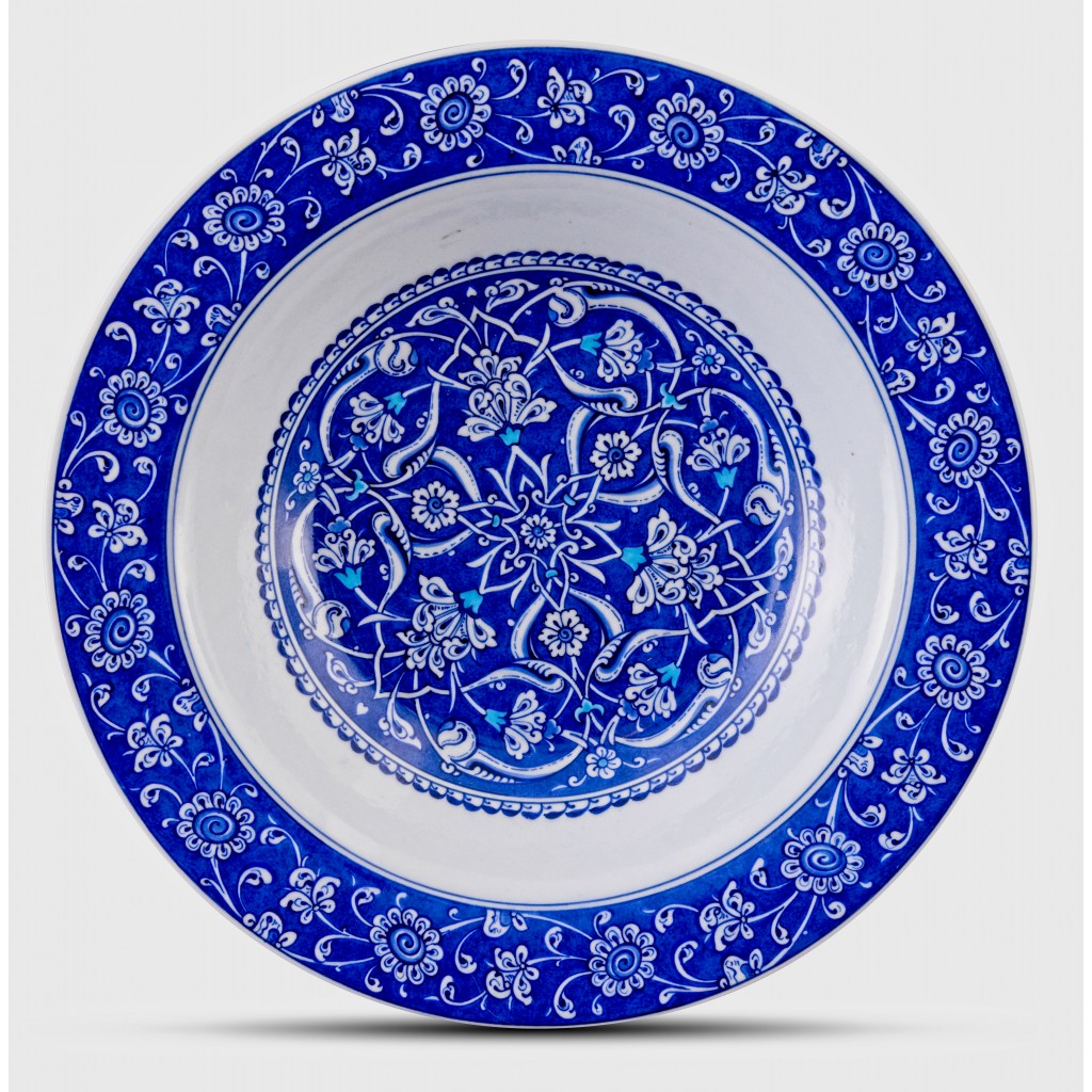 Blue and white plate with Rumi pattern ;;36;;; - PLATE