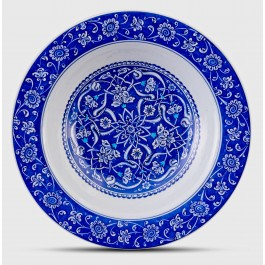 BLUE & WHITE Blue and white plate with Rumi pattern ;;36;;;