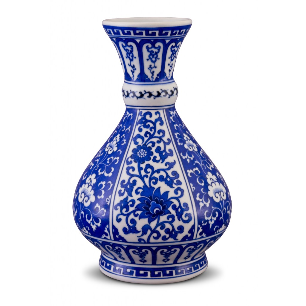 Blue and white vase with floral pattern ;34;17;;; - VASE