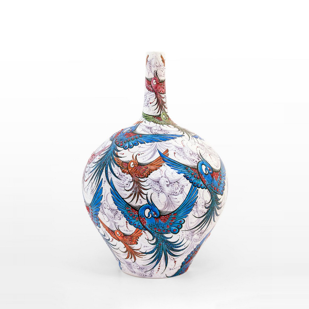 Bottle with bird figures ;55;35 - VASE
