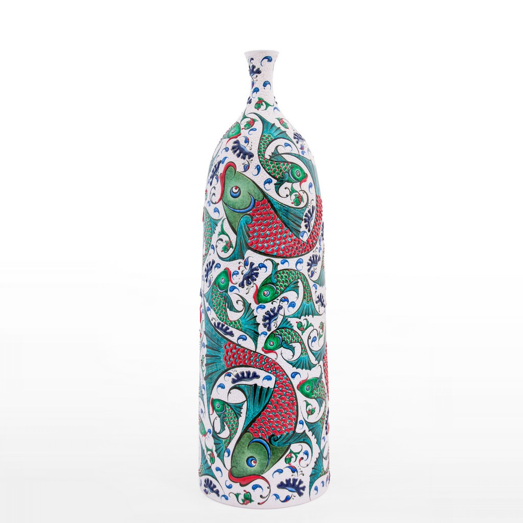 Bottle with fishes ;65;20 - ARTIST Saim Kolhan