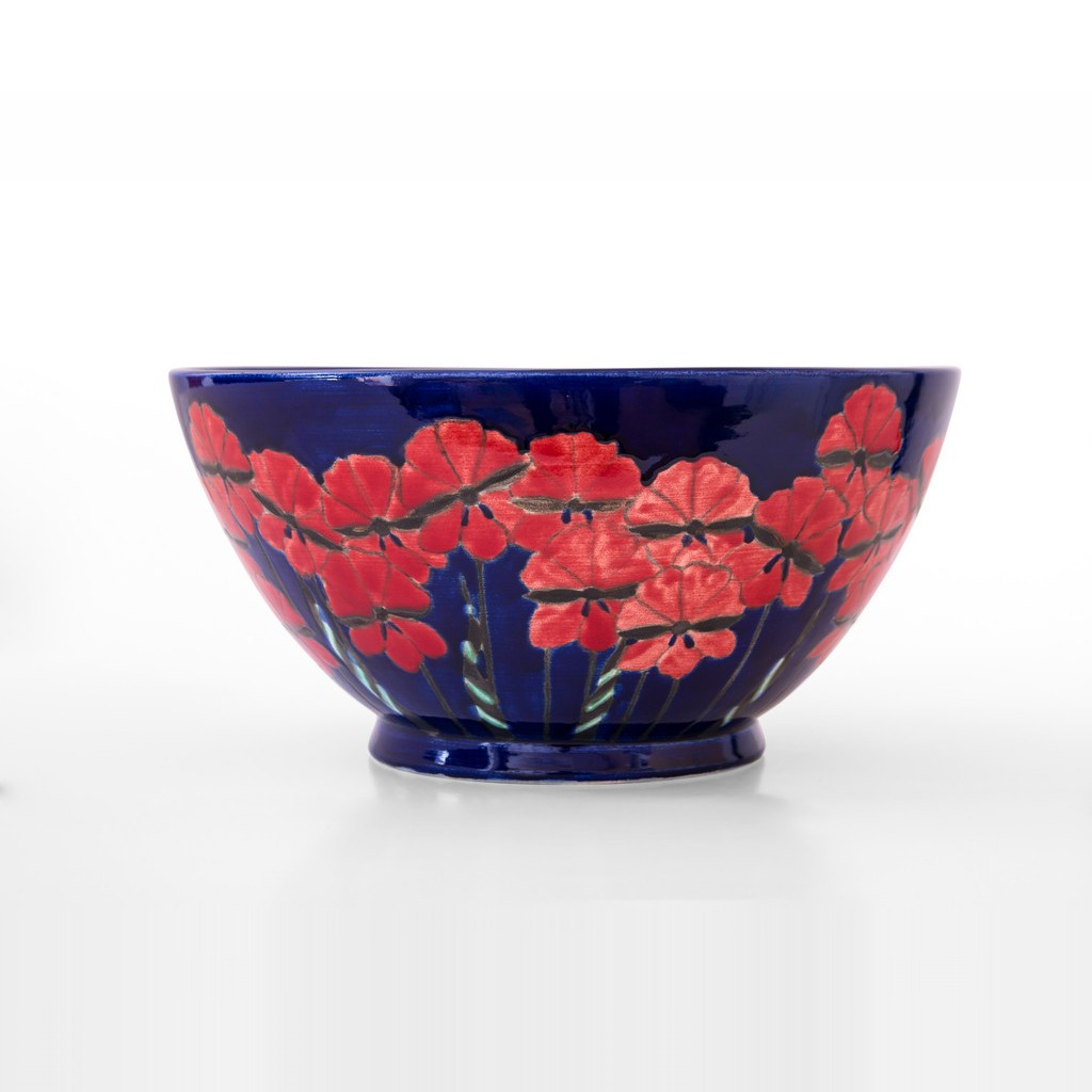 Bowl with birds inside and flowers outside in contemporary style  ;18;38;;; - BOWL
