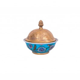 FLORAL Bowl with central floral pattern and gold plated cover ;15;15;;;