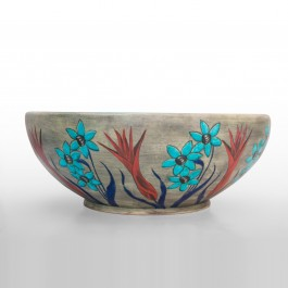Bowl with daisies, tulip and pomegranates in contemporary style  ;17;46 - ARTIST Günhan Bozkurt  $i