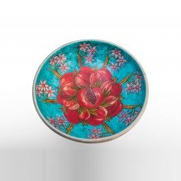 FLORAL Bowl with daisies, tulip and pomegranates in contemporary style  ;17;46