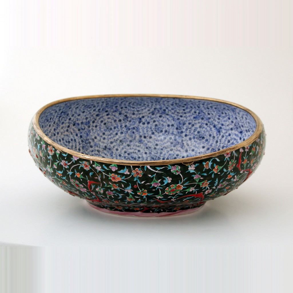 Bowl with flowers and tugrakesh pattern  ;18;35;;; - GEOMETRIC