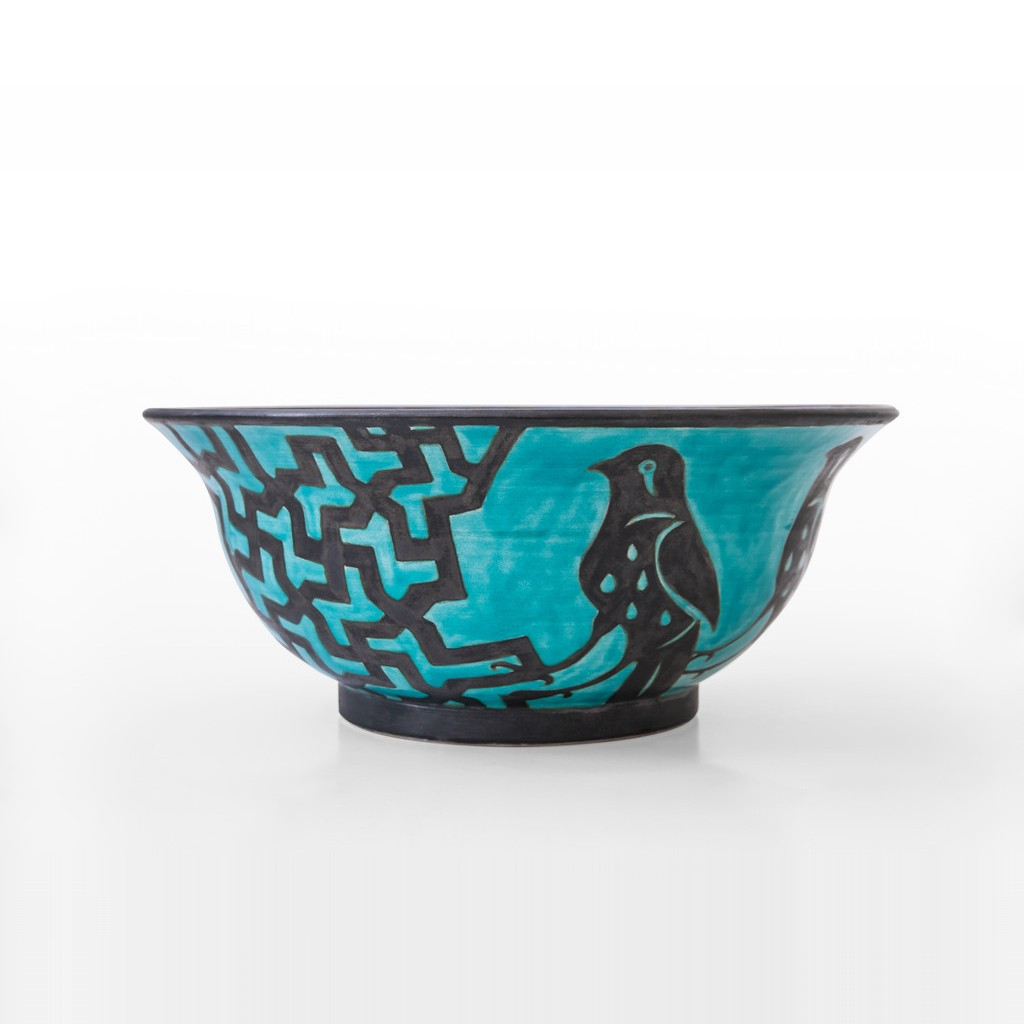 Bowl with geometrical pattern and bird figures ;12;32 - GEOMETRIC