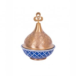 BLUE & WHITE Bowl with geometrical pattern and gold plated cover ;;;;;