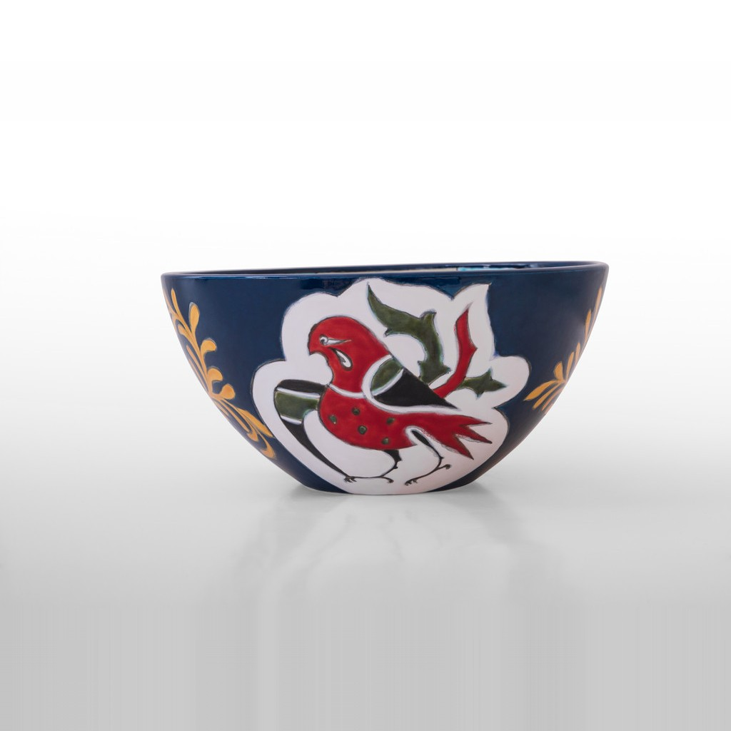Bowl with geometrical pattern inside and birds outside ;15;32 - BOWL