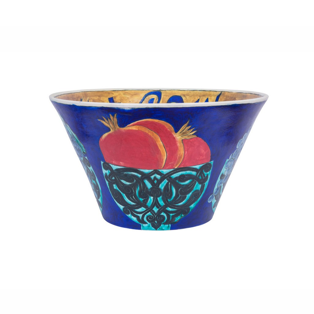 Bowl with pomegranates and calligraphy in contemporary style ;22;40 - ARTIST Günhan Bozkurt