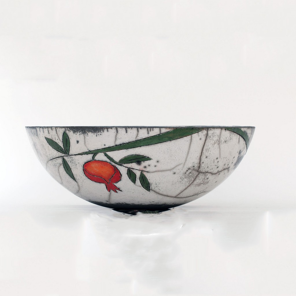 Bowl with pomegranates in contemporary style ;14;39 - RAKU