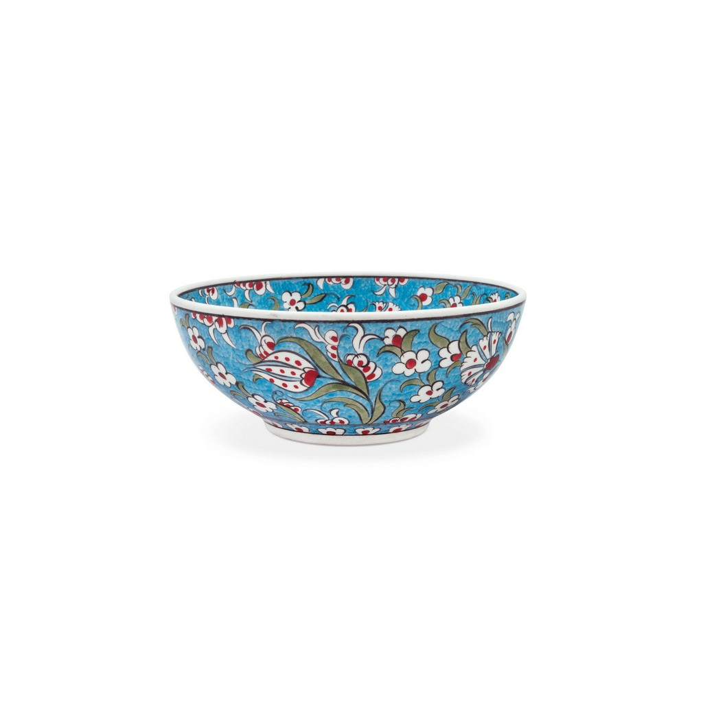 Bowl with saz leaves and floral pattern ;; - BOWL