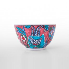 FLORAL Bowl with saz leaves and floral pattern ;7;12