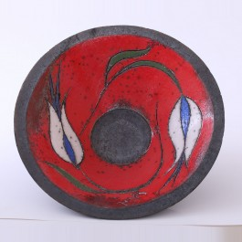 RAKU Bowl with tulips in contemporary style ;10;30