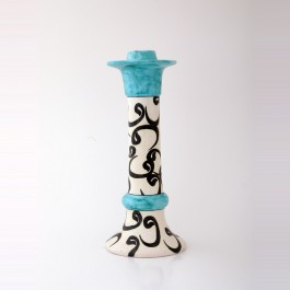 BLACK & WHITE Candlestick with calligraphy ;29;12
