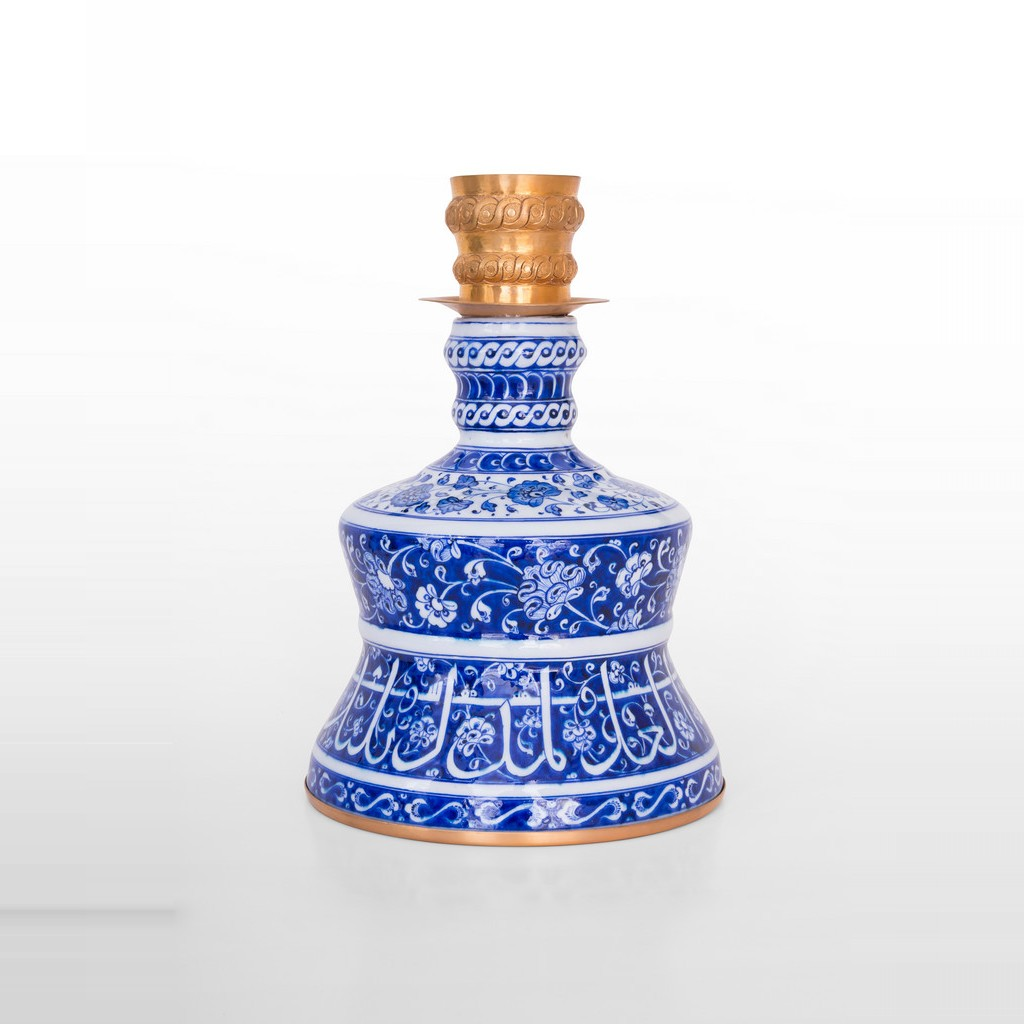 Candlestick with floral pattern, calligraphy and gold plated mount ;35;24 - BLUE & WHITE