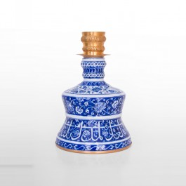 DECORATIVE ITEM & OBJECTS Candlestick with floral pattern, calligraphy and gold plated mount ;35;24