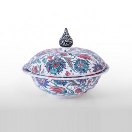 FLORAL Covered bowl with floral composition ;35;45