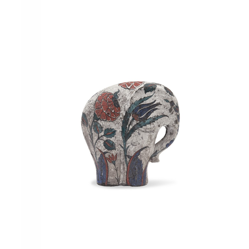 Elephant figure with floral pattern ;; - RAKU