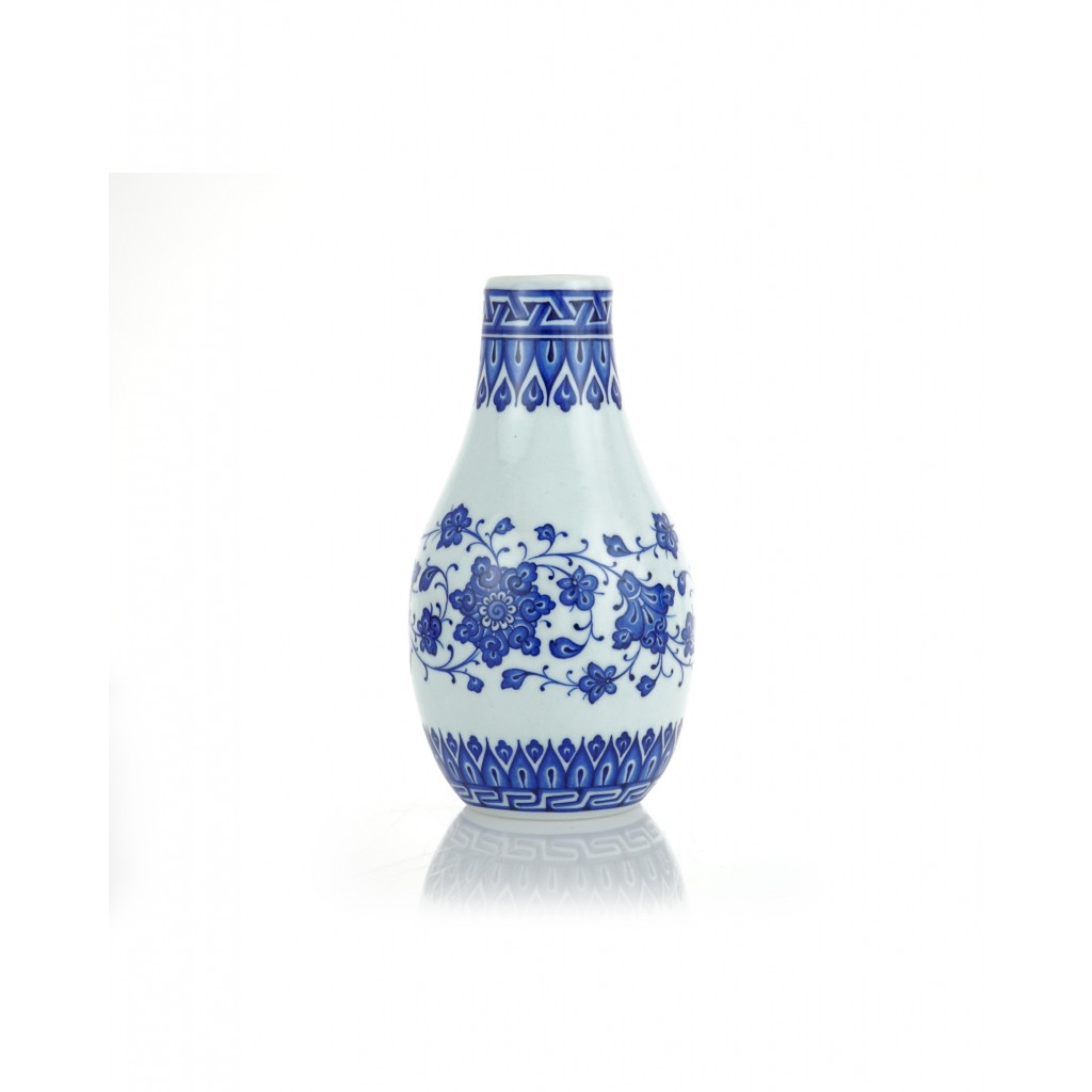 Floral vase with chain pattern rim ;23;12;;; - VASE