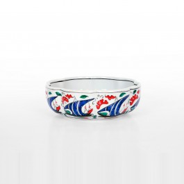FLORAL Foliated bowl with boat pattern ;7;23