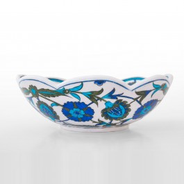 FLORAL Foliated bowl with hatai pattern ;19;30