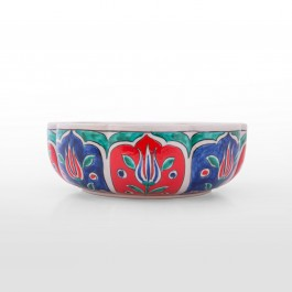 FLORAL Foliated bowl with tulips ;8;23