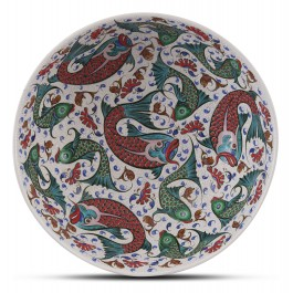 Footed bowl with fish pattern ;25;38;;; - BOWL  $i