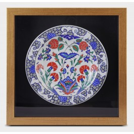 FLORAL Framed plate with floral pattern ;44;44;;;