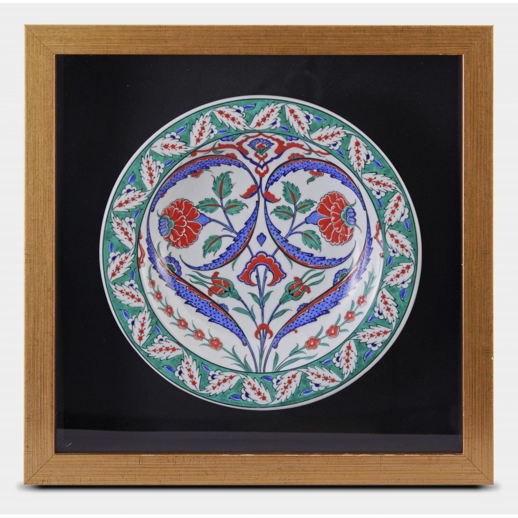 Framed plate with floral pattern ;44;44;;; - PLATE