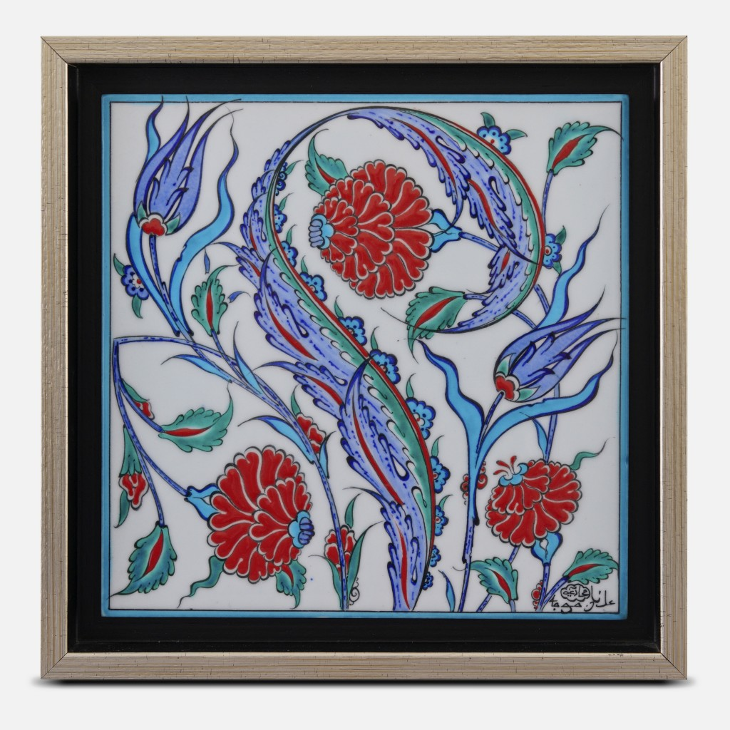 Framed tile with floral pattern ;30;30;;; - FLORAL