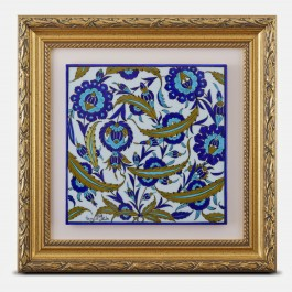TILE & PANELS Framed tile with floral pattern ;40;40;;;