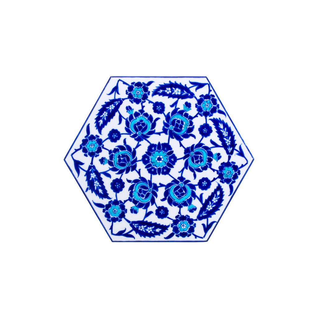 Hexagonal tile with leaves and floral pattern ;;29 - BLUE & WHITE