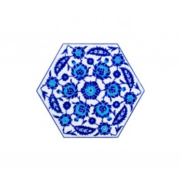 FLORAL Hexagonal tile with leaves and floral pattern ;;29