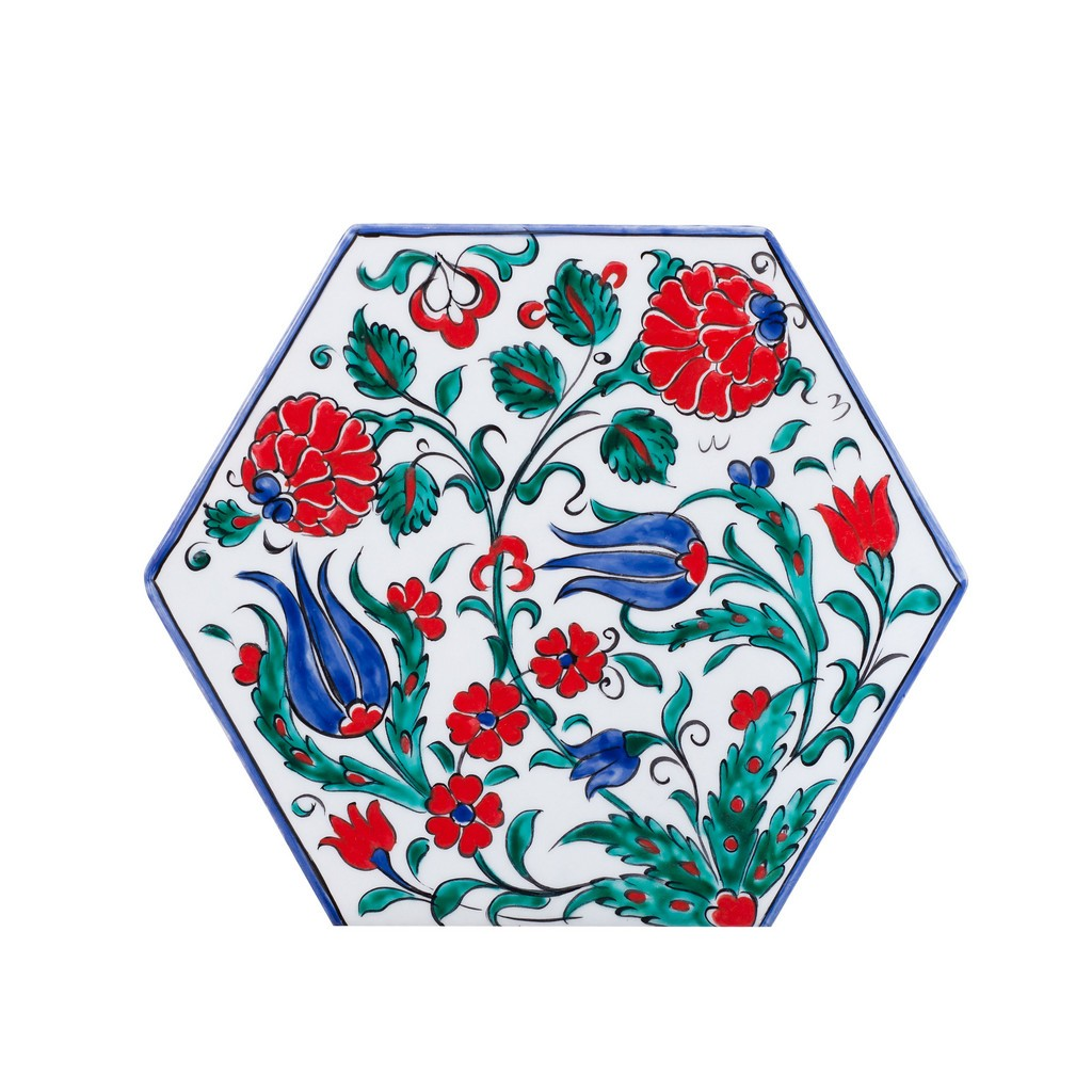Hexagonal tile with leaves and flowers ;;22 - FLORAL