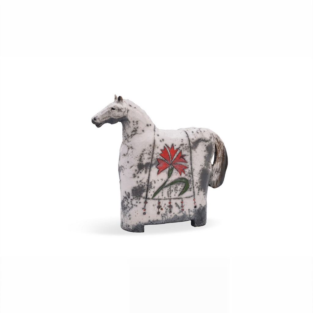 Horse figurine with carnation flowers ;;;;; - RAKU
