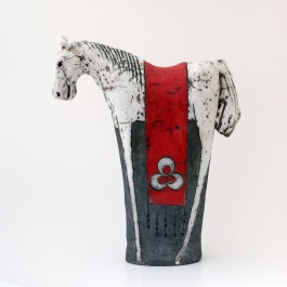 RAKU Horse figurine with chintemani ;38;33;;;